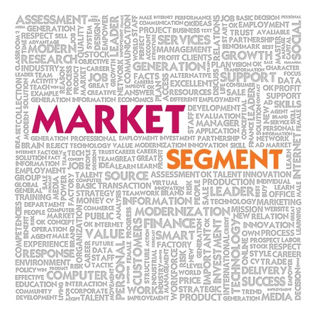 variables: Business word cloud for business and finance concept, Market Segment Stock Photo