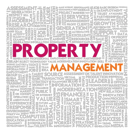 Business word cloud for business and finance concept, Property management photo