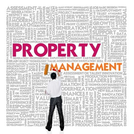 dirección empresarial: Negocios nube de palabras para los negocios y el concepto de finanzas, gestión de la propiedad