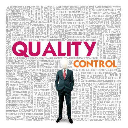 qc: Business word cloud for business and finance concept, Quality Control