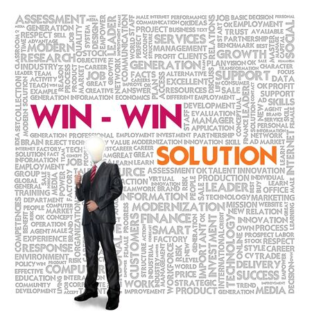 Business word cloud for business and finance concept, Win win solution photo
