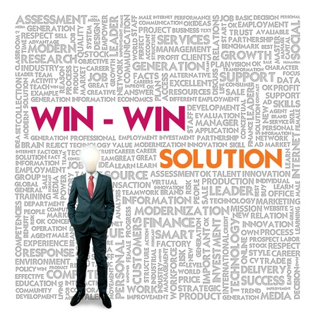 printing business: Business word cloud for business and finance concept, Win win solution