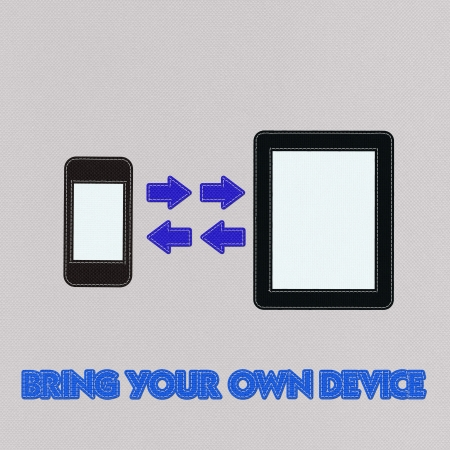 owning: Bring Your Own Device concept with stitch style on fabric background