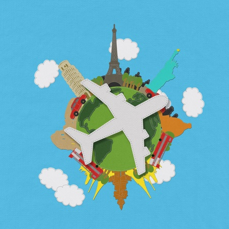 World travel concept with stitch style on fabric background  Stock Photo - 18668107