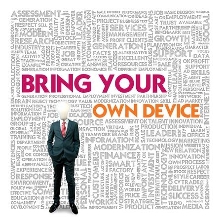 apporter: Nuage de mots pour les affaires et le concept de finance, Bring Your Own Device Banque d'images