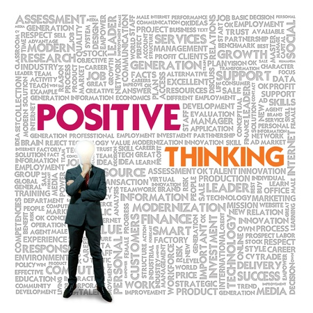 intent: Word cloud for business and finance concept, Positive Thinking Stock Photo