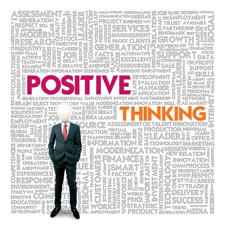 world thinking: Word cloud for business and finance concept, Positive Thinking Stock Photo