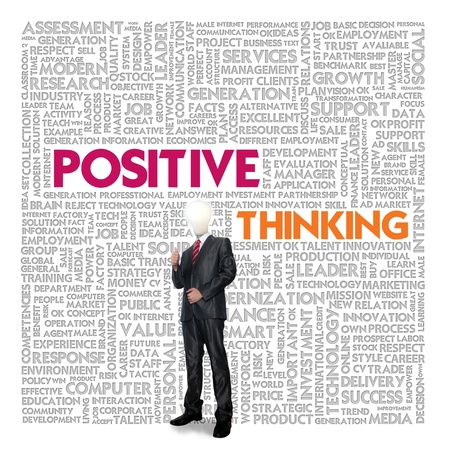 clair: Word cloud for business and finance concept, Positive Thinking Stock Photo