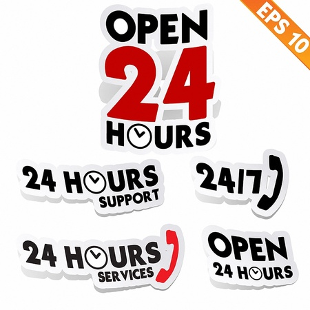 twenty four hours: 24 hours collection  - Vector illustration