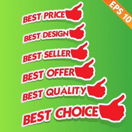 Stitcker Best tag collection  - Vector illustration  Vector