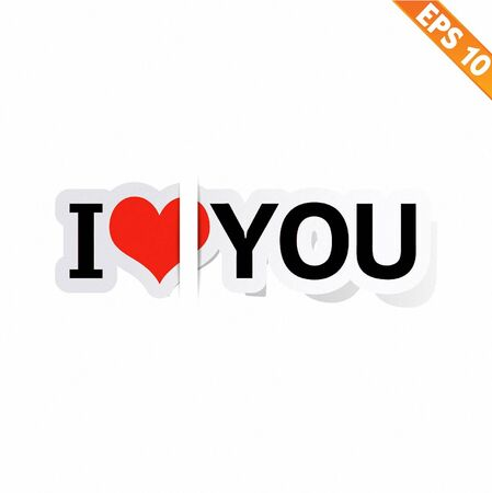 I LOVE YOU Stitcker  - Vector illustration Vector