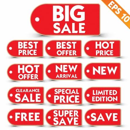 tear off: Sale stitch sticker price tag  - Vector illustration