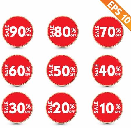 reduction: Sale stitch sticker price tag  - Vector illustration