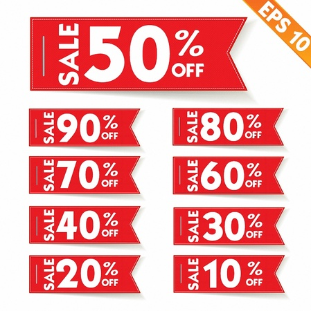 tear off: Sale percent sticker price tag  - Vector illustration  Illustration