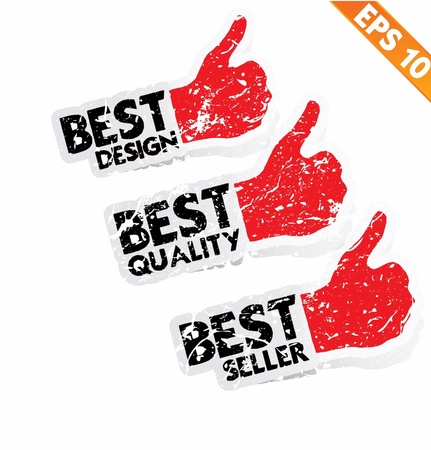 green thumb: Stitcker Best tag collection  - Vector illustration  Illustration