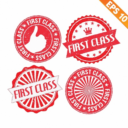 first class: Stamp sticker first class collection  - Vector illustration
