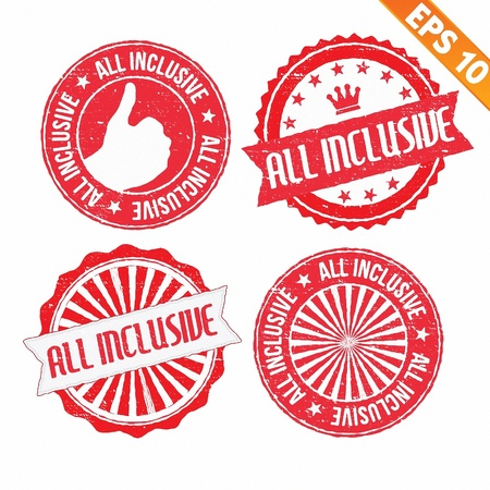 great seal: Stamp sticker All Inclusive collection  - Vector illustration