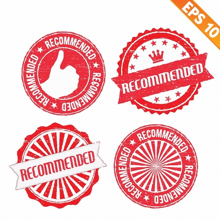 recommendation: Stamp sticker recommended collection  - Vector illustration  Illustration