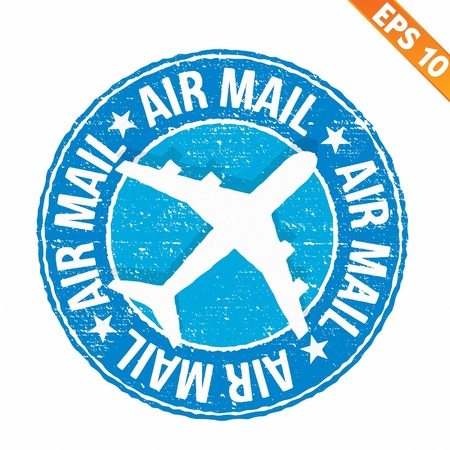 Stamp sticker Air mail collection  - Vector illustration  Vector