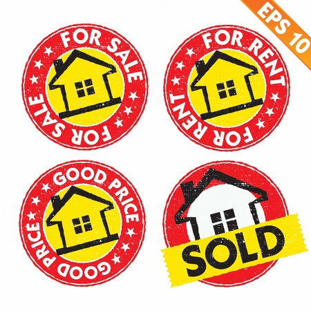 Stamp sticker house for sale  collection  - Vector illustration  Vector