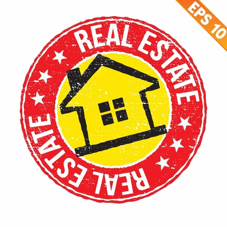 Stamp sticker real estate collection  - Vector illustration  Vector