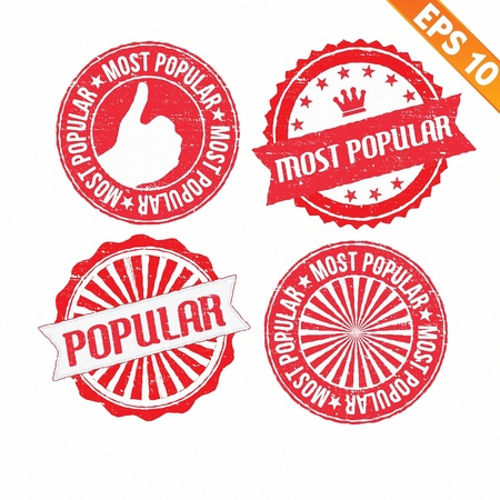 most popular: Stamp sticker most popular collection  - Vector illustration