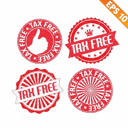 duty free: Stamp sticker tax free collection  - Vector illustration  Illustration