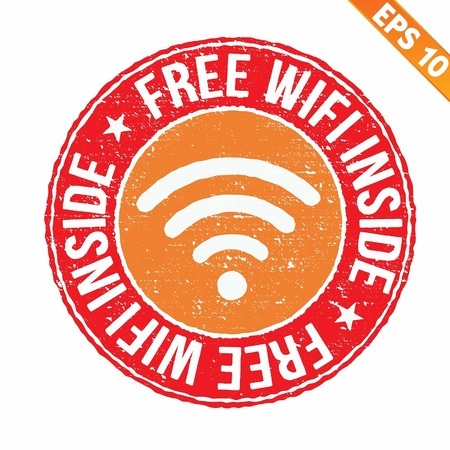 boardcast: Stamp sticker Free wifi collection  - Vector illustration