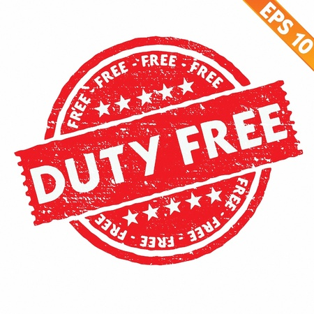 duty: Stamp sticker Duty free collection  - Vector illustration