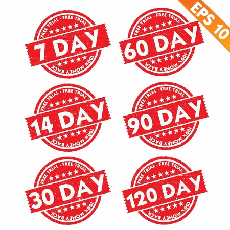 free trial: Stamp sticker Free trial collection  - Vector illustration
