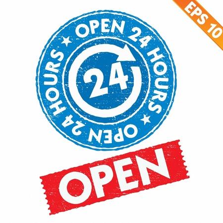 twenty four hours: Stamp sticker Open collection  - Vector illustration