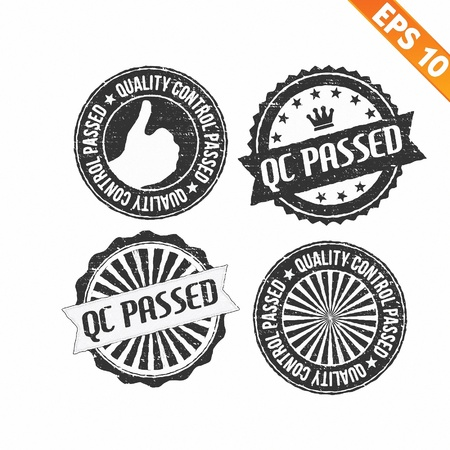 qc: Stamp sticker QC Pass collection  - Vector illustration