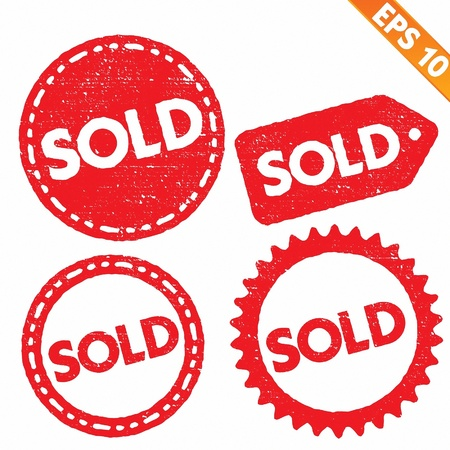 sold out: Stamp sticker sold tag collection  - Vector illustration