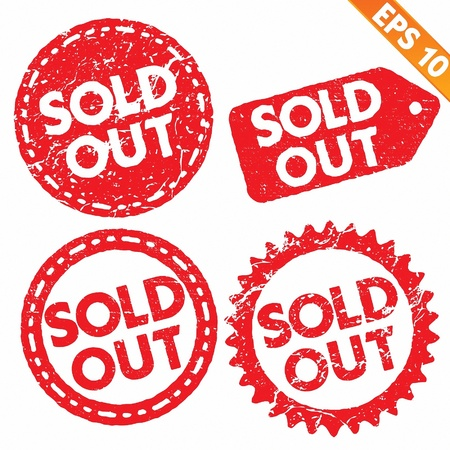 sold out: Stamp sticker sold out tag collection  - Vector illustration