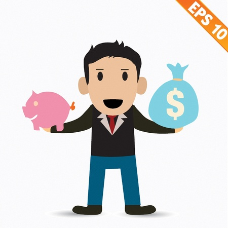 Cartoon Businessman with financial money - Vector illustration
