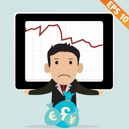 spending money: Cartoon Businessman with financial money - Vector illustration