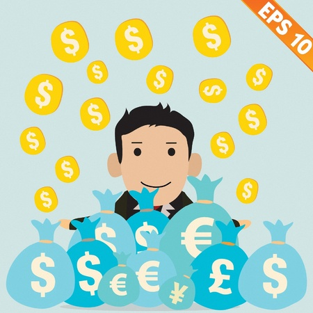 Cartoon Businessman with financial money - Vector illustration  Stock Vector - 20895252