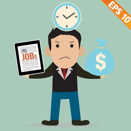 salary man: Cartoon Businessman with financial money - Vector illustration  Illustration