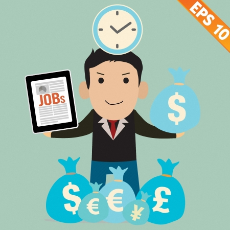 life balance: Cartoon Businessman with financial money - Vector illustration