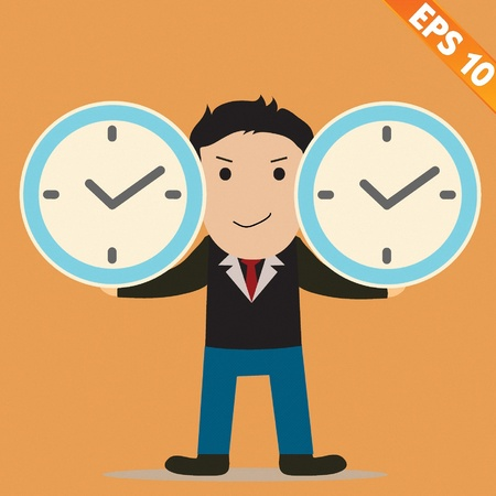 Cartoon Businessman with time management - Vector illustration  Vector