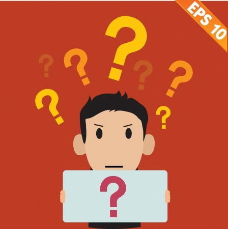 annoyance: businessman with question marks - Vector illustration
