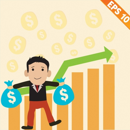 good investment: Cartoon Businessman with positive graph money - Vector illustration   Illustration