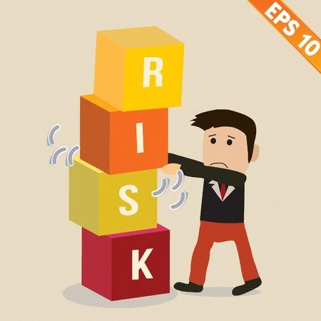 management concept: Negocios de la historieta con el concepto de gesti�n de riesgos - ilustraci�n vectorial