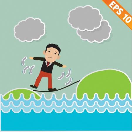 rope vector: Cartoon Businessman walking on the rope - Vector illustration