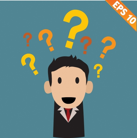 annoying: businessman with question marks - Vector illustration