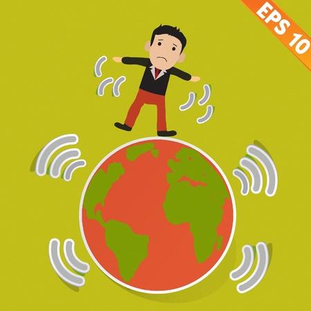 quake: Cartoon Businessman stand with earthquake - Vector illustration   Illustration