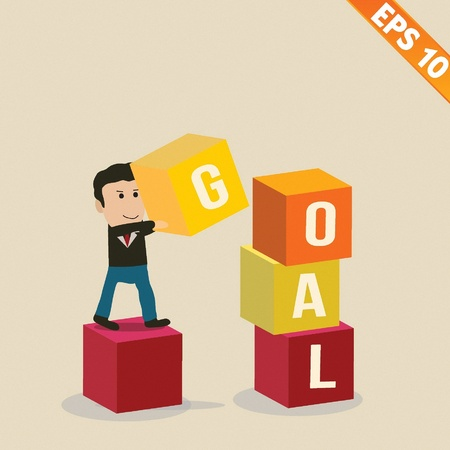 stacking: Cartoon Businessman stacking goal box - Vector illustration