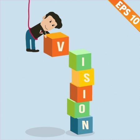 3d manager: Cartoon Businessman stacking vision box - Vector illustration  Illustration
