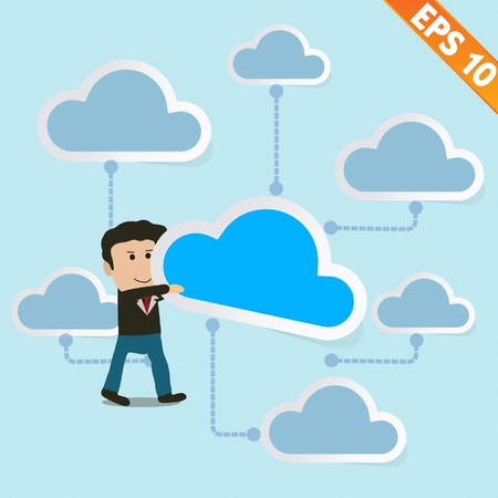 Cartoon Business man holding cloud  with cloud computing - Vector illustration   Vector