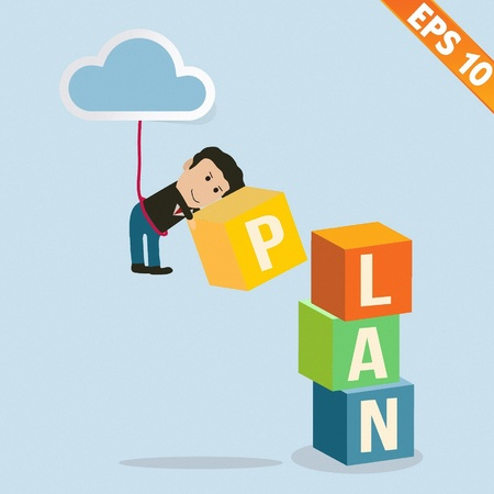 adds: Cartoon Businessman stacking goal box - Vector illustration